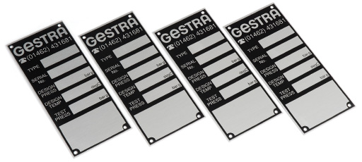 Screencraft Anodised aluminium labels